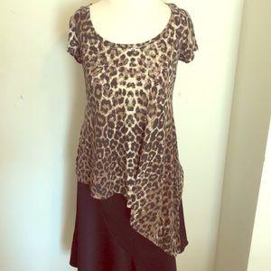 Leopard print asymmetrical top
